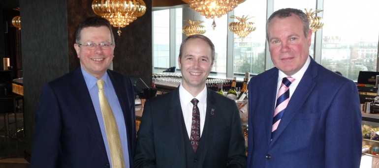 Conor Burns MP, Cllr Beesley and the Hilton's General Manager Cedric Horgnies.