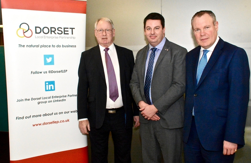 Conor and Local Government Minister Andrew Percy with the Chairman of the Dorset Local Enterprise Partnership (LEP) Gordon Page at Bournemouth University.