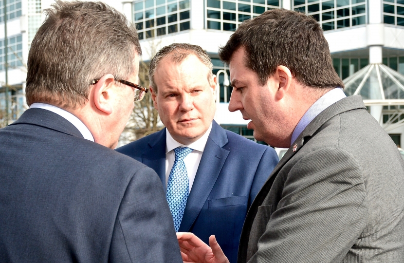 Conor and local Council Leader Cllr John Beesley discuss the Government's extra £19.5 million of regional growth funding for the area with Local Government Minister Andrew Percy.