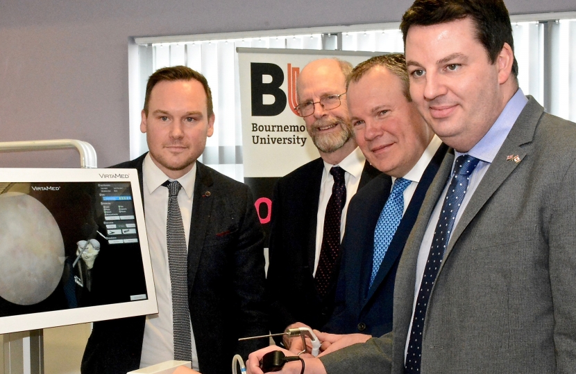 Conor with Communities and Local Government Minister Andrew Percy at Bournemouth University.