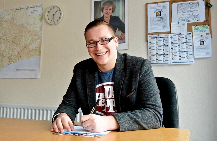 Former UKIP member Councillor Laurence Fear completing his Conservative Party membership form.