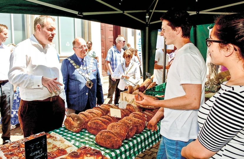Conor and the Mayor chat to stall holders at the Bournemouth Food Festival.