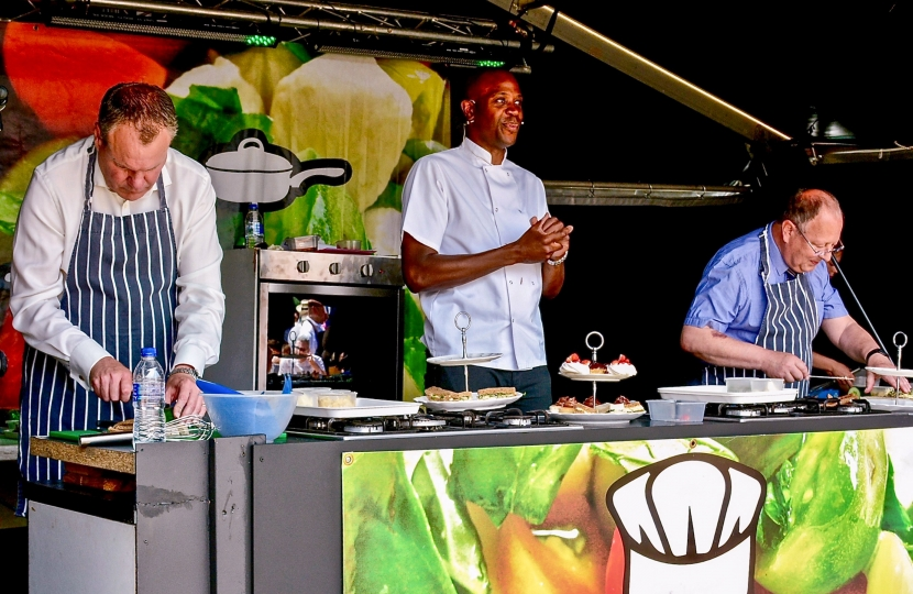 Conor competing in the cook off against the Mayor of Bournemouth, Councillor Lawrence Williams, at the Bournemouth Food Festival 2017.