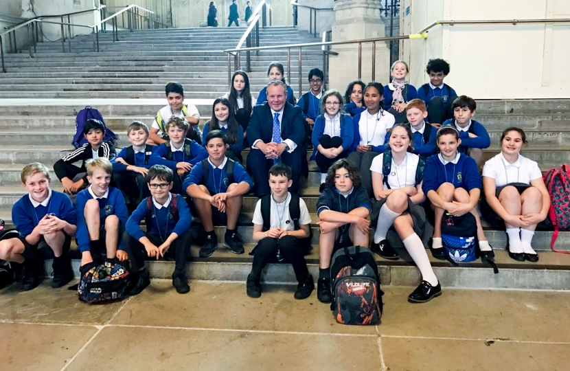 Conor with St. Michael's School pupils in Westminster Hall.