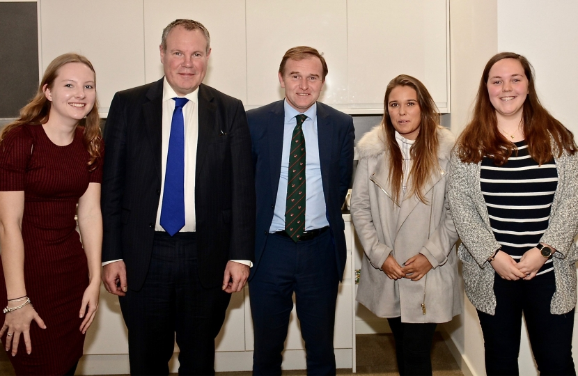 Conor pictured with George Eustice MP at Bournemouth University.