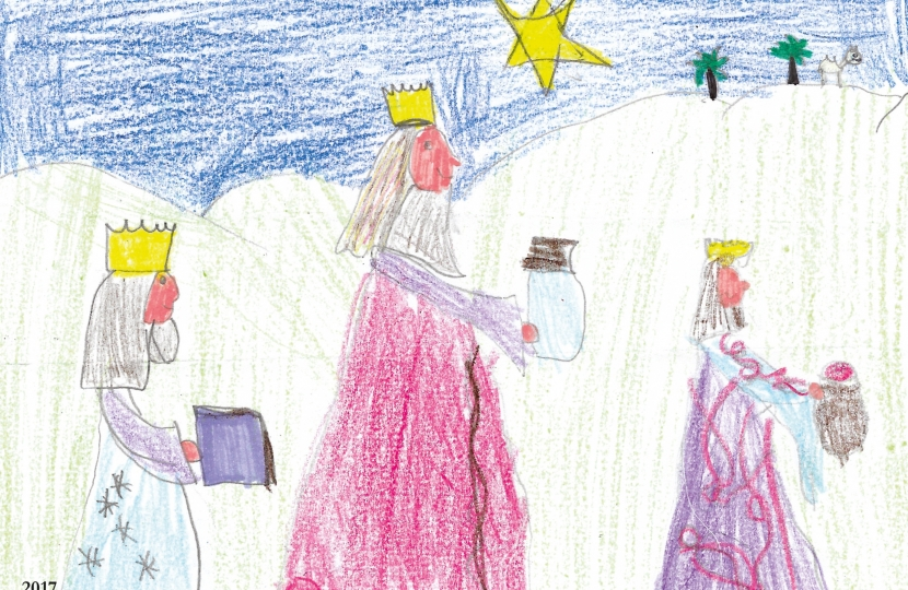 Design by Charlotte Crowe, aged 8.  A pupil at St Luke's School, Winton, Bournemouth. Winner of Conor Burns MP's Christmas Card Competition 2017.