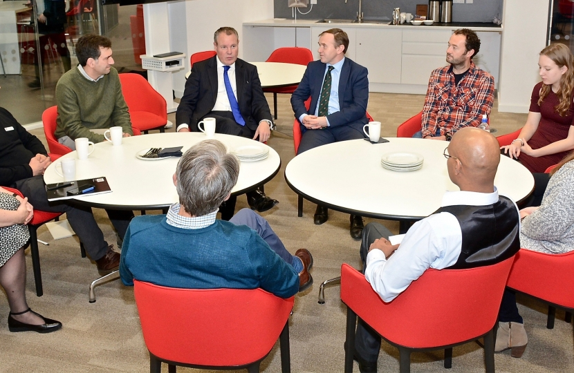 Conor pictured talking to the group. Also pictured is George Eustice MP & BU professors and students.