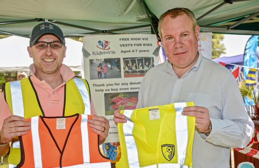 Conor pictured with Mike Trimby #kidsinvisfrom - holding up high visibility vests that were being given away free for children at the fair.  See https://www.facebook.com/kidsinvis/ for more information.