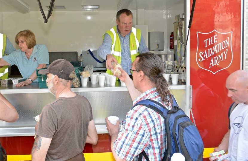 Conor pictured handing out food with the Salvation Army over the May Bank Holiday weekend.