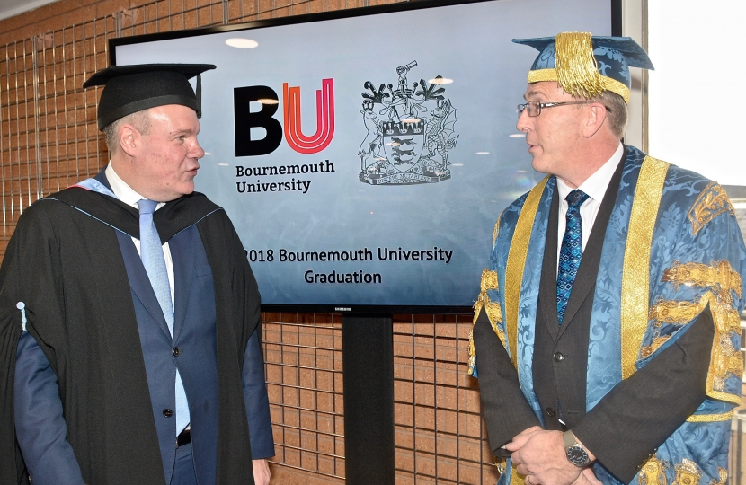Conor with Vice-Chancellor of Bournemouth University John Vinney  at the recent Graduation Ceremony held at the BIC.