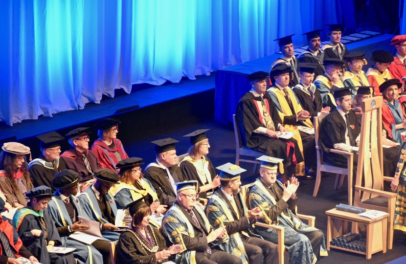 Conor at the graduation ceremony for those BU students receiving their degrees in Media and Communications.