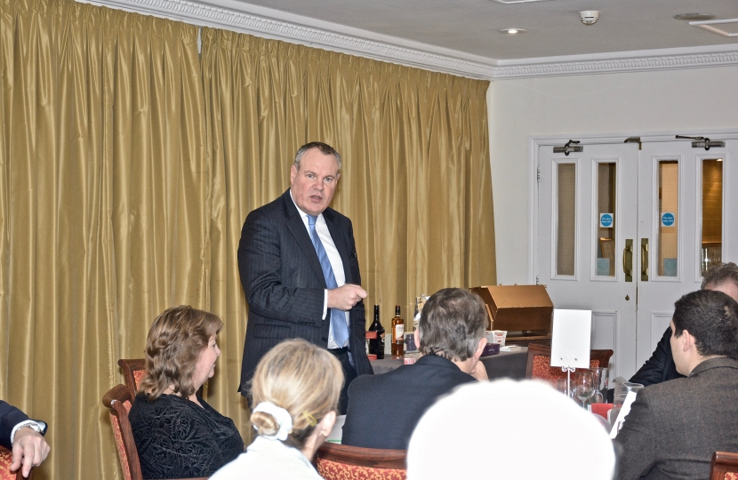 Conor addressing the Bournemouth West Conservatives Christmas lunch.