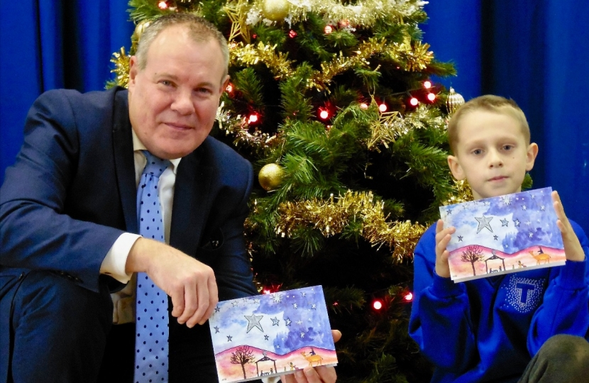 Conor with Alekss Bolduresku the winner of his Christmas Card Competition 2018.