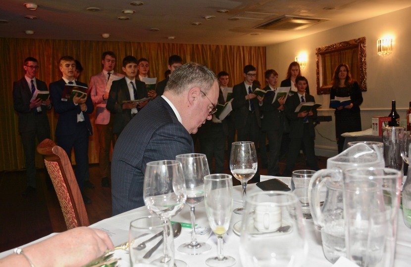Conor listens to Bournemouth School Choir singing carols at the Bournemouth West Conservatives Christmas lunch.
