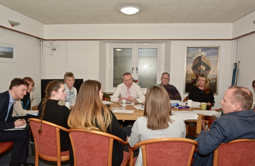 Conor with a group of people meeting at St Peter's Church to discuss homelessness in the town.