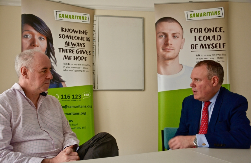 Conor is briefed on the work of the Samaritans in Bournemouth.