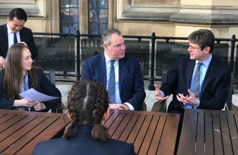 Conor and the Business Secretary chat to the pupils on the House of Commons Terrace.