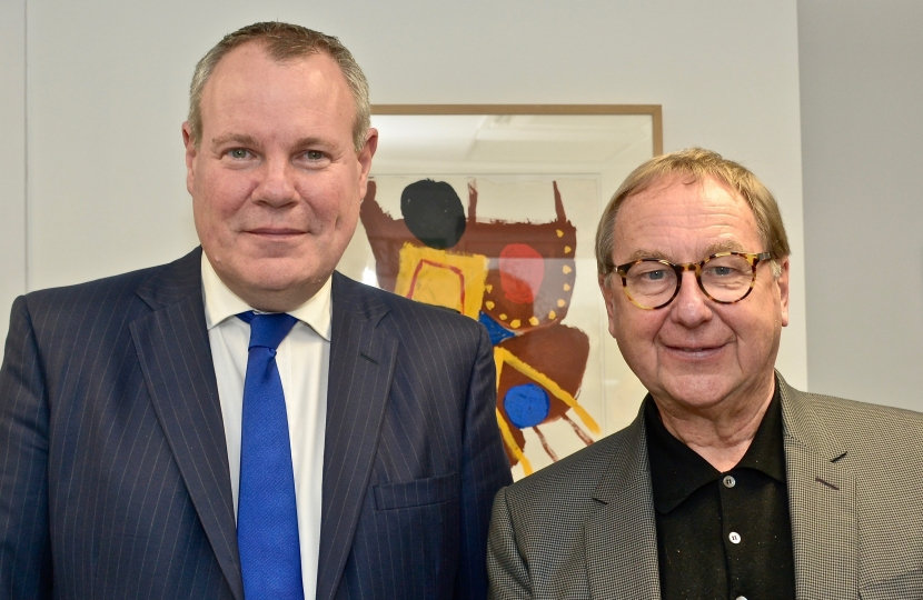 Conor with the Principal and Vice Chancellor of the Arts University Bournemouth, Stuart Bartholomew.