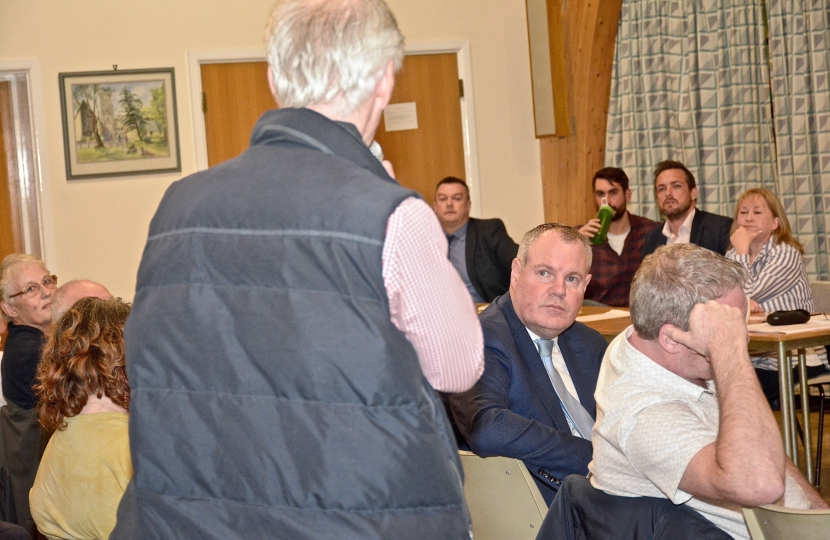 Conor listens to concerns at the Talbot Village Residents Association.