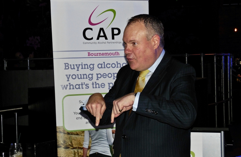 Conor speaking at the launch of the Community Alcohol Partnership.