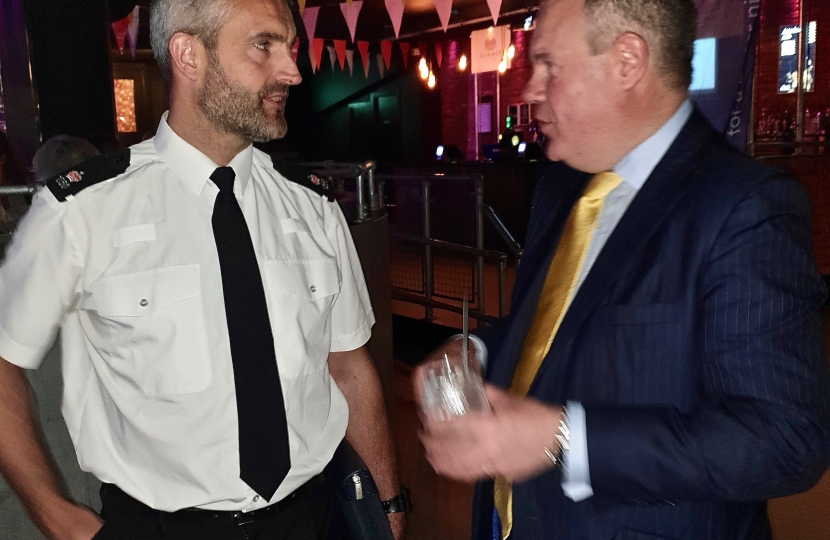 Conor speaking with Police Superintendent Jared Parkin head of neighbourhood policing for Bournemouth Poole and Christchurch.
