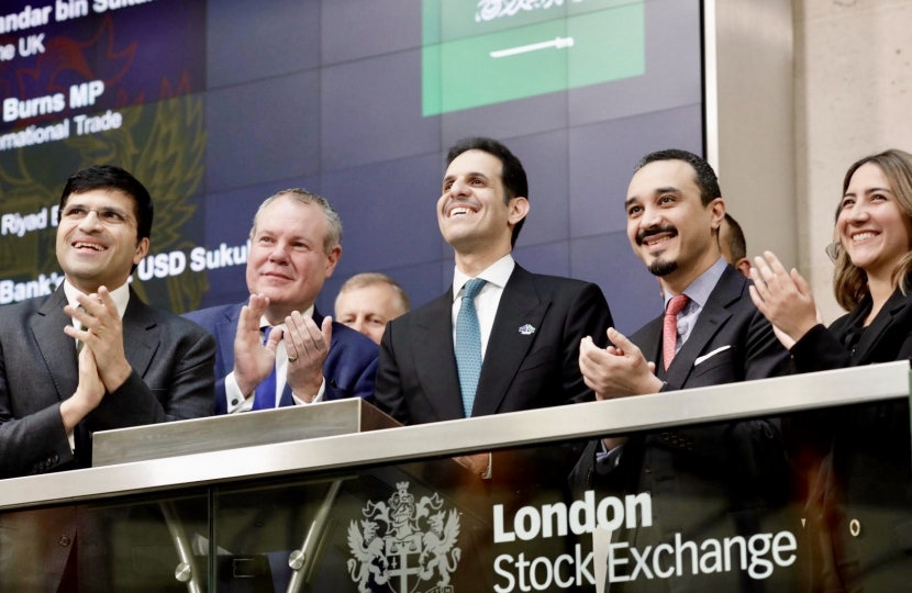 Conor Burns opening the London Stock Exchange