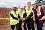 Conor pictured breaking ground with Sam Gyimah MP, Vice Chancellor Professor John Vinney for a new academic building on campus.