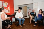 Conor visiting The Big Issue team in Bournemouth. He was surprised to learn that Big Issue sellers do not have this recognised as employment which counts to Bournemouth residency status enabling the provision of housing.