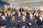 Conor with pupils at St Joseph's School, Alderney.